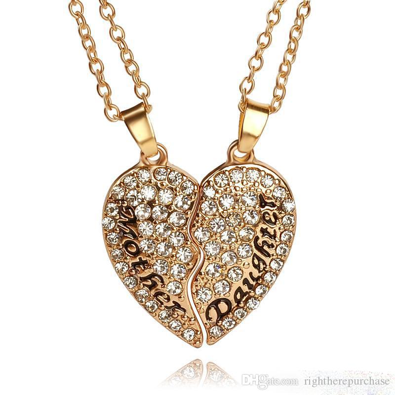 mother daughter jewelry set clear crystal full Rhinestone broken heart pendant necklaces gold palted charm for women mother child necklace