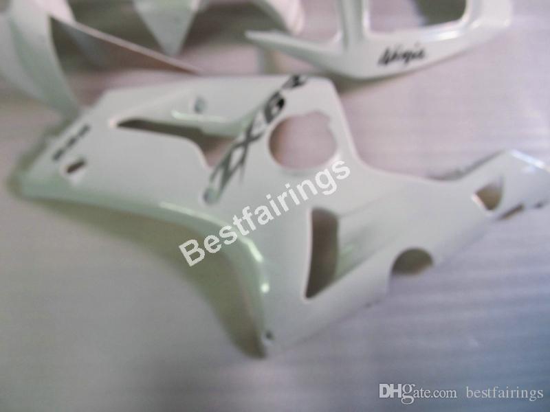 Carenados plásticos del molde de inyección baratos para Kawasaki Ninja ZX6R 03 04 blanco kit de carenado de la motocicleta ZX6R 2003 2004 UY31