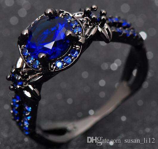 Nouveau Design Unique Anneaux De Mariage Pour Hommes Et Femmes Cristal De Mode Noir Or Filled Party Ring Bijoux Cadeaux