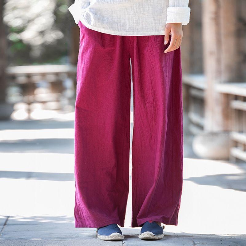Solid Elastic waist Linen Cotton Women Harem Pants Summer Loose Casual Wide leg Pants Brand Design Linen Wide leg Trousers B101
