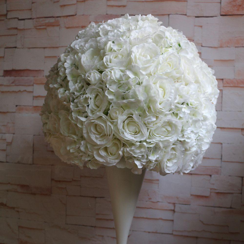 mariage route boule de plomb fleurs artificielles décoration de mariage décoration table maîtresse 2/3 boule de fleurs rondes 50 cm