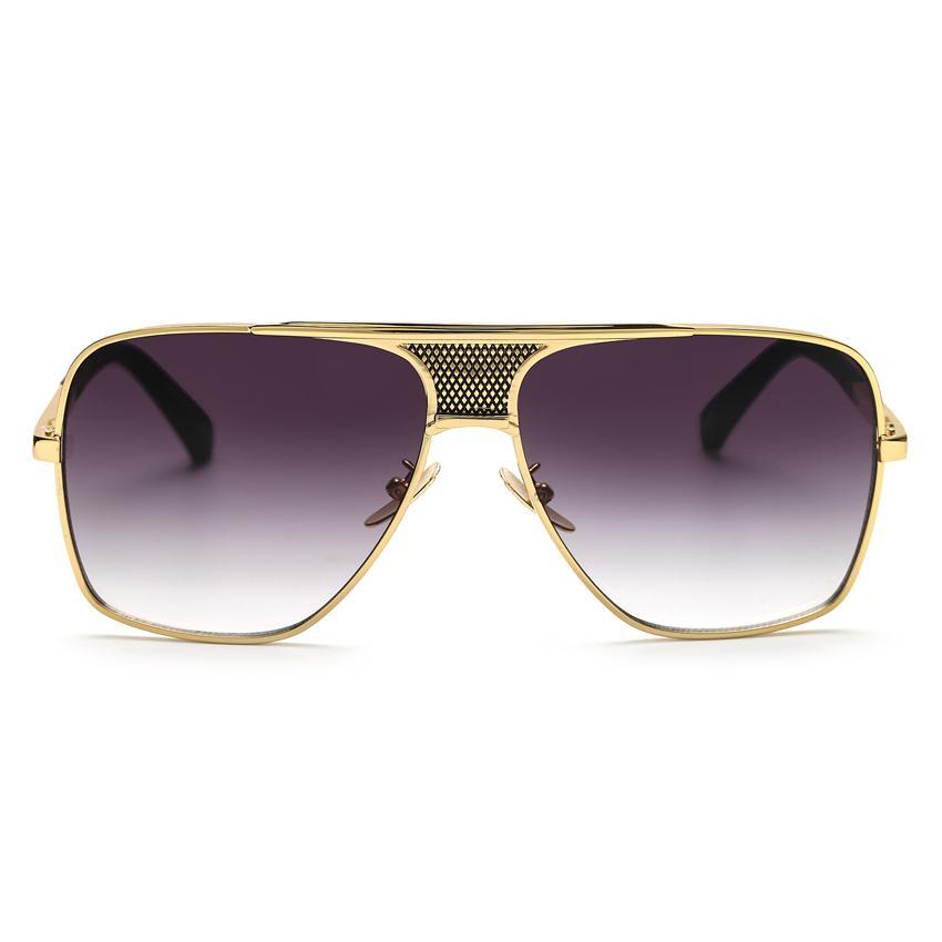Compre Peekaboo Nova Marca 2017 Steampunk Quadrado Óculos De Sol Dos Homens  Flat Top Metal Ouro Europeu Americano Retro Óculos De Sol De Luxo Masculino  De ... 713b6b5305