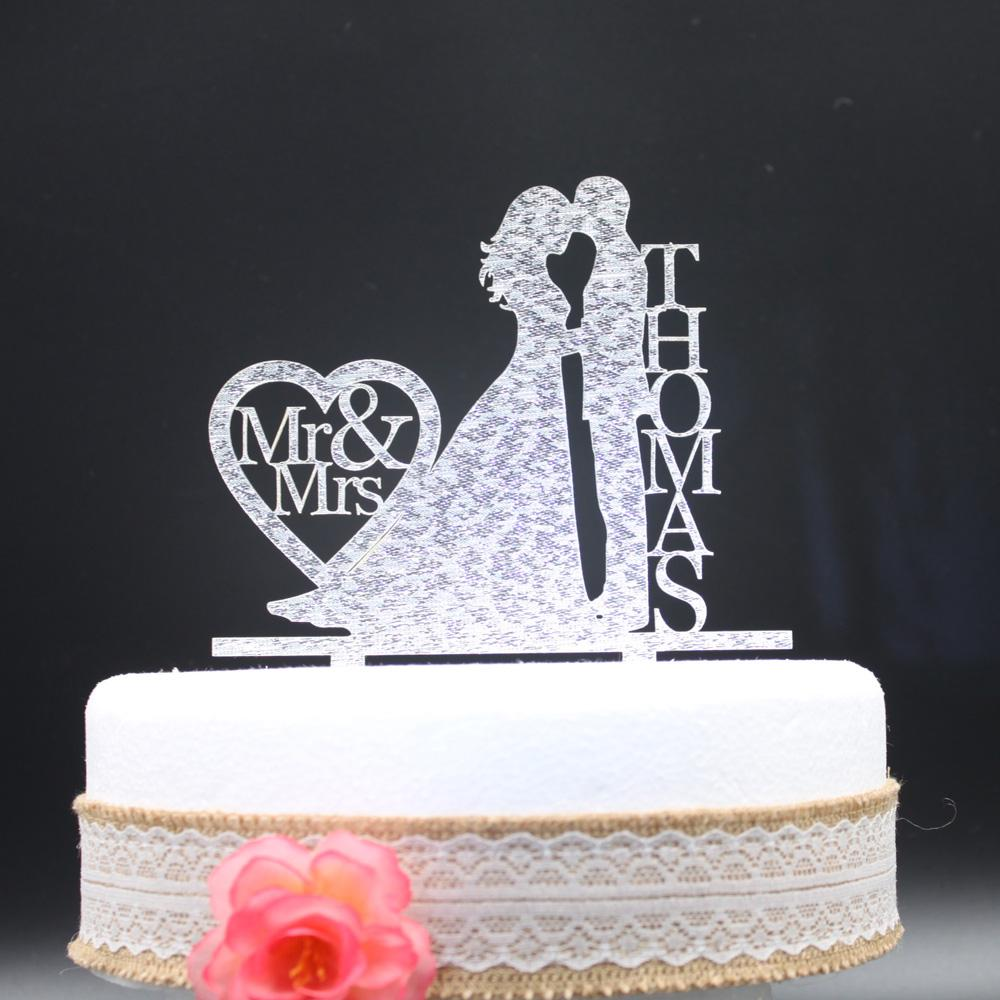 2018 Wholesale Personalized Wedding Cake Topper Acrylic Silver Gold Glitter,Custom  Wedding Bride Holding And Grooms Cake Topper Last Name From Shuishu, ...