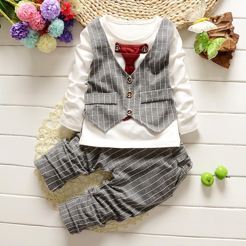 3dd7a24c9 2019 2017 Baby BoyS Gentleman Clothing Sets Kids Fashion Tie Vest T ...
