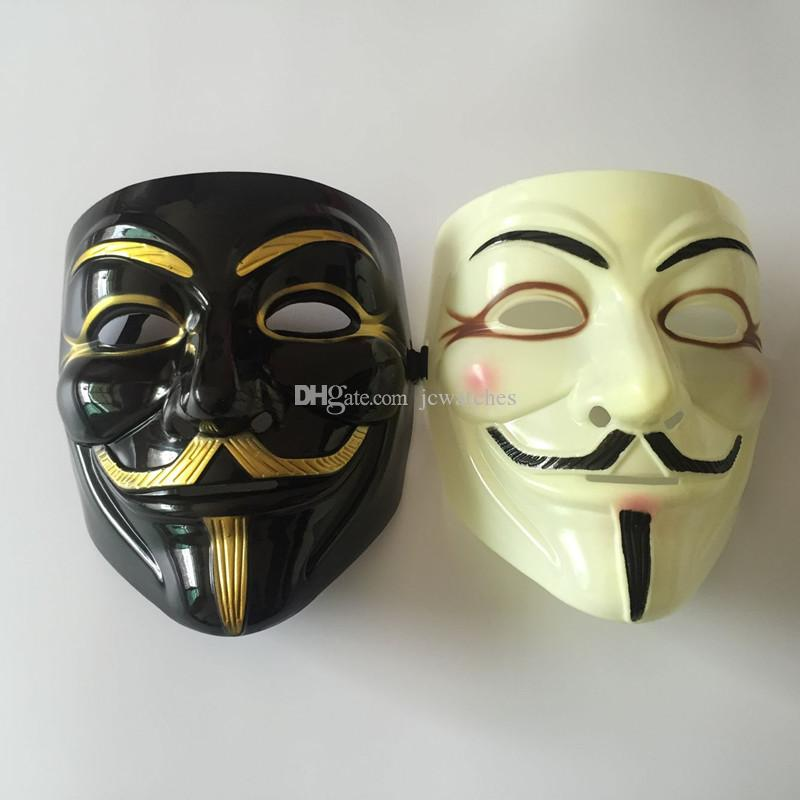 Fashion V- Vendetta Mask Decorative Props Full Face 2 Colors Ribbon Blush Cosplay Party Ball Costume Halloween Plastic Mask for Adult Men