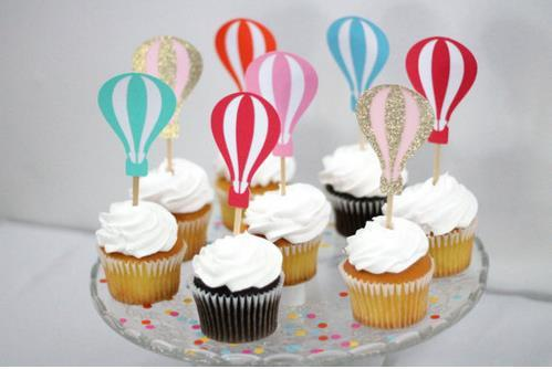 Custom colorful hot air balloon cupcake toppers birthday wedding custom colorful hot air balloon cupcake toppers birthday wedding bridal shower party cake decorations party supplies festive cupcake toppers cheap junglespirit Images