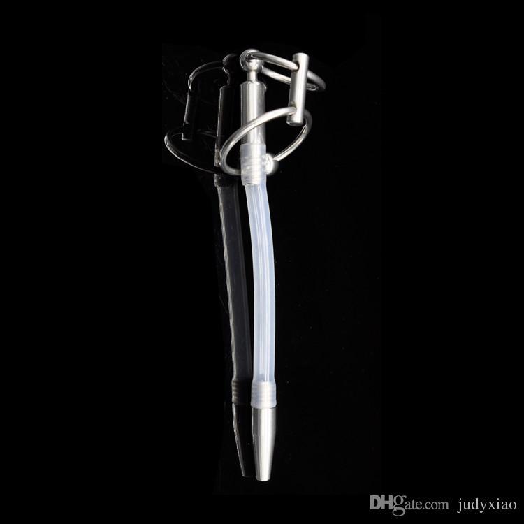 Nyaste stil manlig rostfritt stål urinrör kateter med 2 storlek kuk ring, penis urinplugg, sexleksak, urinrör stimulerar dilator A104