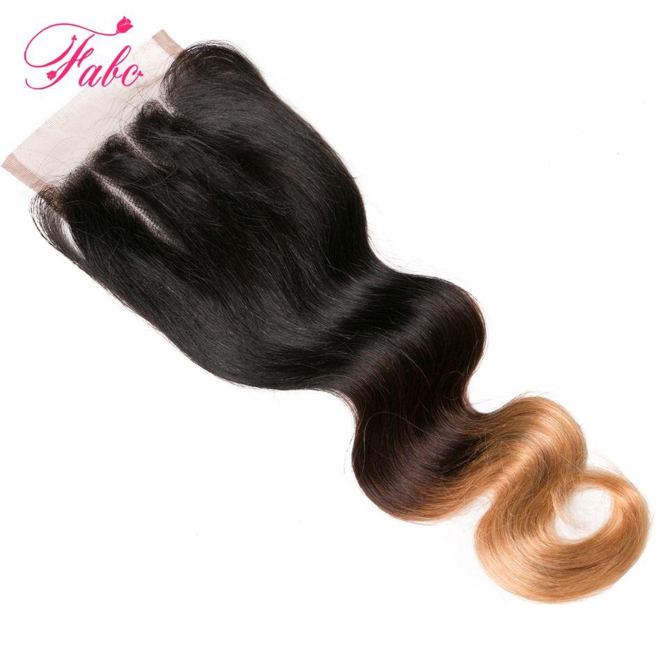 fabc ombre brazilian haare # 1b / 4/27 3 ton blonde 4x4 spitzeschliessen frei mittlere drei teil 100% menschliches haar körper welle 1 stück 10-20 zoll