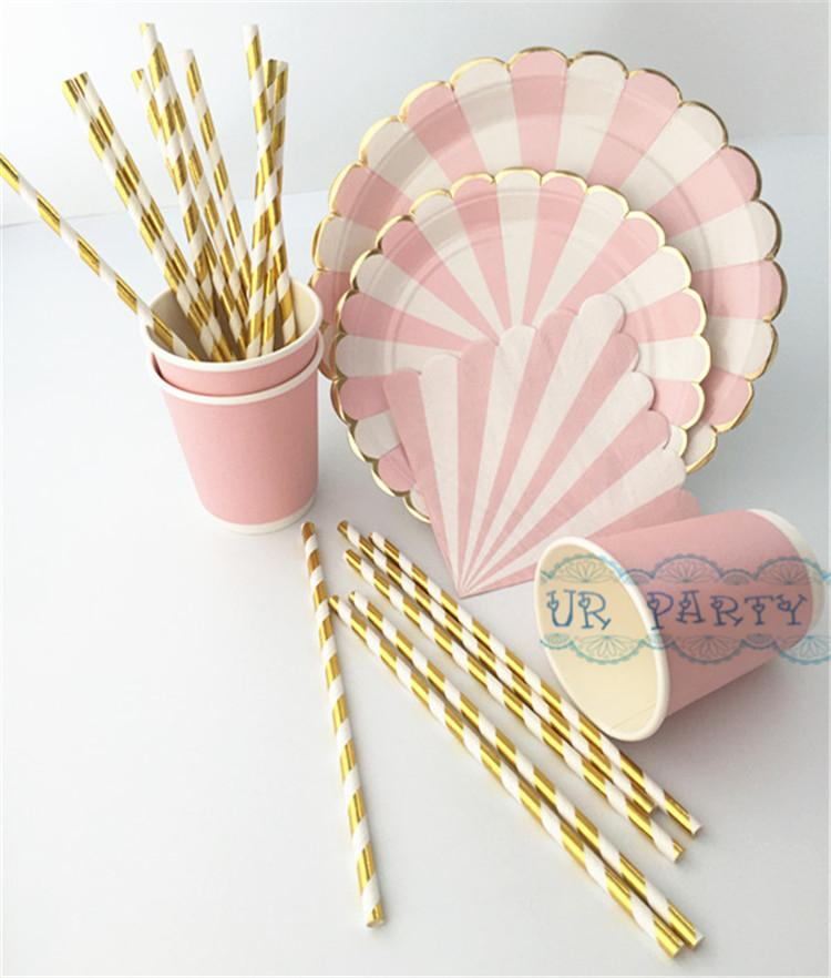 Wholesale-40 People Party Paper Plates Napkins Cups Straws Disposable Tableware Metallic Gold Pink Stripe Theme Party Wedding Decor Cup of Coffee Animation ...  sc 1 st  DHgate.com & Wholesale-40 People Party Paper Plates Napkins Cups Straws ...