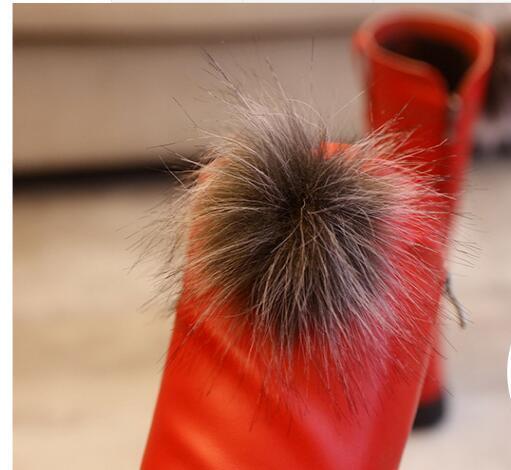 2018 Hiver Filles Bottes Enfants Sonw Bottes Enfants Chaussures D'hiver Chaud Fourrure En Peluche En Caoutchouc Imperméable En Cuir PU Mode Bébé Princesse Chaussures