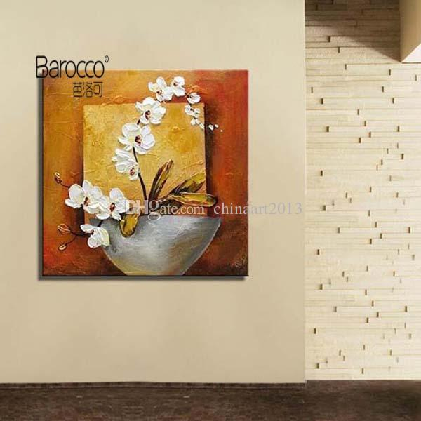 Moth Orchid Flowers Painting Pure Hand Painted Oil Painting on Canvas Modern Simple Home Wall Art Decoration