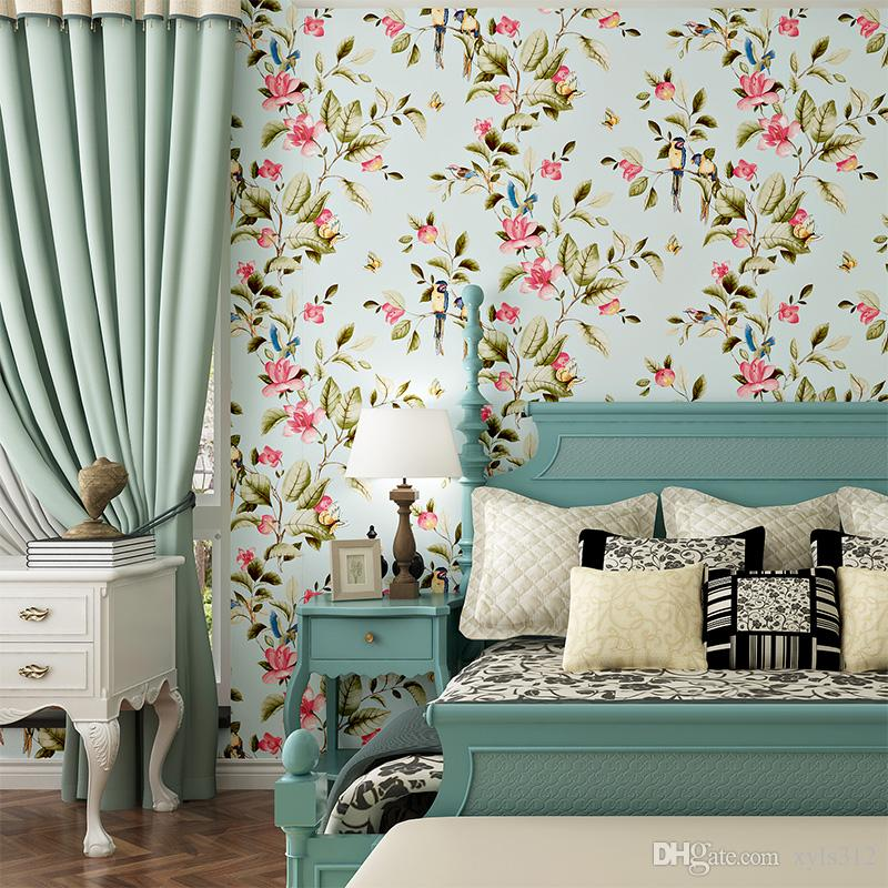Pastoral Nonwovens Wallpapers Sala de estar Fundo Papéis de parede Quarto Casa Cheia Sala de Casamento Fresca Pequeno Papel de Parede Floral