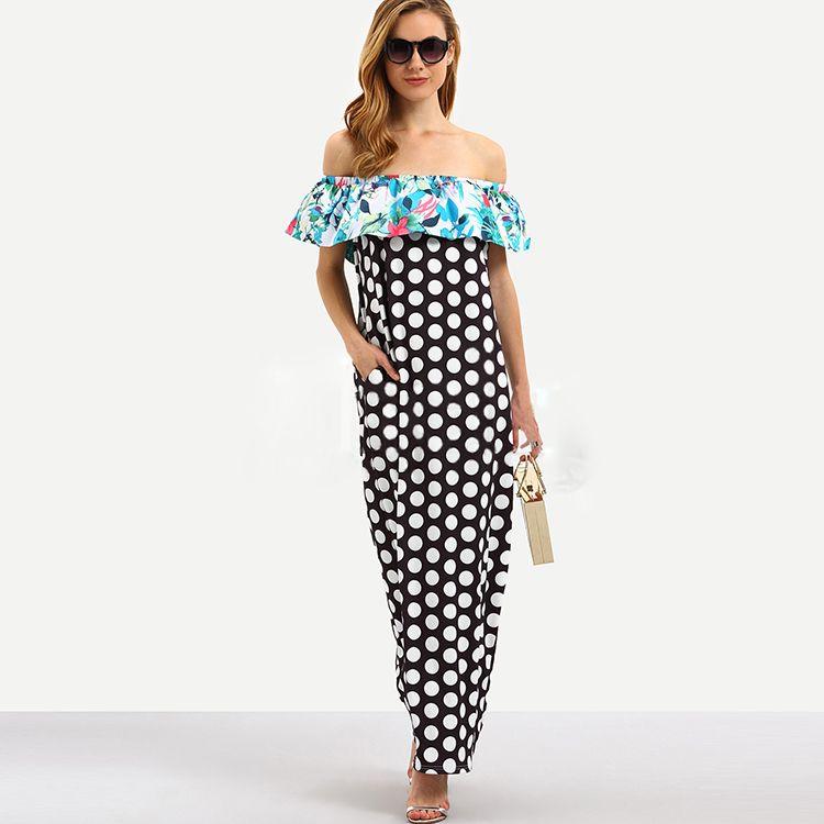 b2a1ff9d8b06 2017 Summer Beach Casual Dress Butterfly Sleeve Off Shoulder Sexy Women Maxi  Dress Dot Print Ruffle Panelled Plus Size Loose Dress Pretty Party Dresses  ...