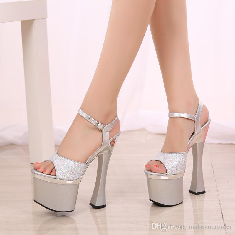 wholesaler factory price fashion sliver color peep toe 18cm heel club high heel women sandals 180