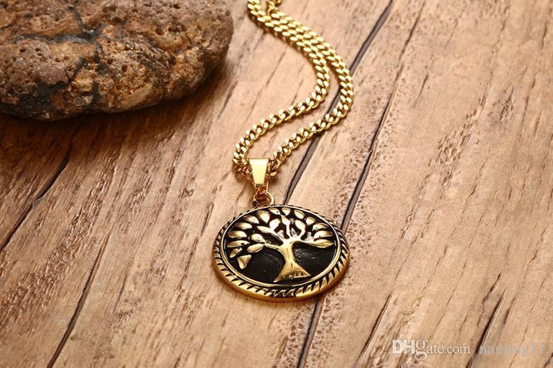 Arbre de vie collier hommes bijoux or plaqué prière en acier inoxydable colliers livraison 24