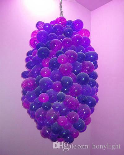 Elegante Lampen Puppel Bubble Kronleuchter Traubenform Murano Kronleuchter Wohnzimmer Dekor Hand Geblasenes Glas LED Birnen Pendelleuchte