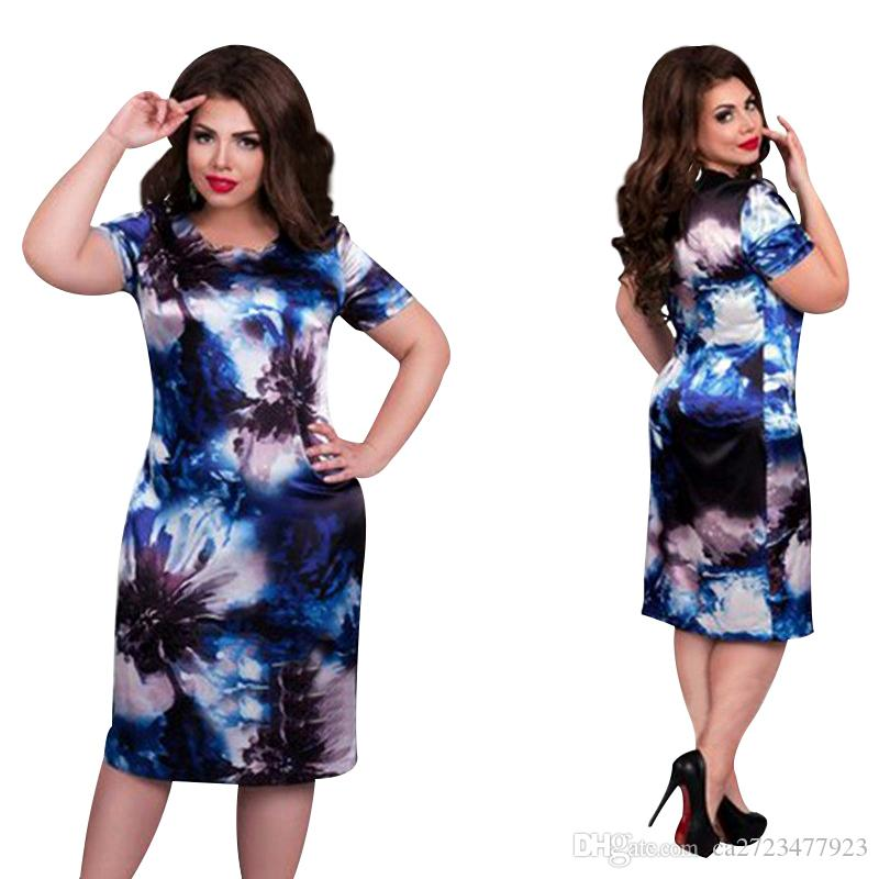 2019 Fashion Brand Women Dress Plus Size 6XL Vestidos O Neck Print Flower Straight Casual Summer Knee Length Oversized Dress