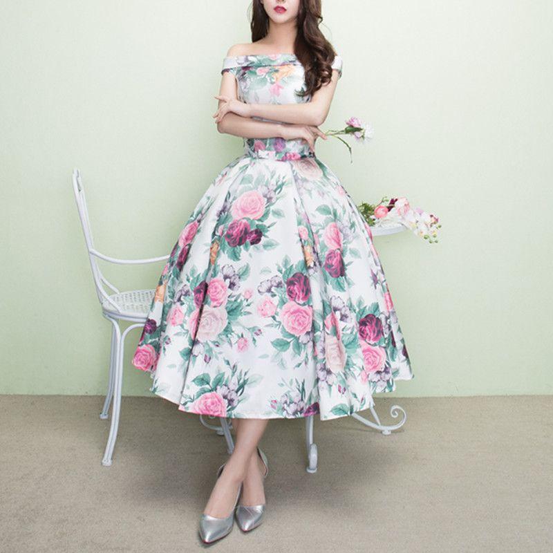 Abiti da sera variopinti fuori spalla Princess Lunghezza del tè Principessa Bordo Abbinò Bow Sash Rose Flower Romantico Satin Prom Gowns Abiti formali Nuovo E152