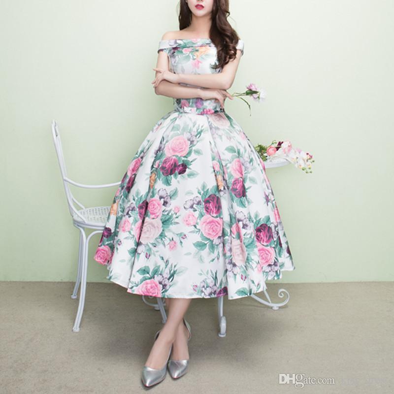 Off-omuz Renkli Abiye Prenses Çay Boyu Eşleşen Yay Kanat Gül Çiçek Romantik Saten Balo Abiye Örgün Elbiseler Yeni E152