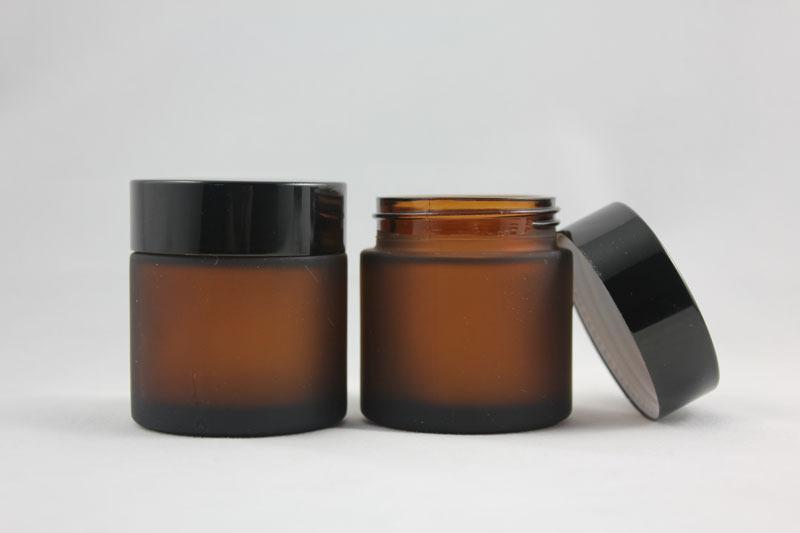 50g brown/amber frosted glass cream jar with black aluminum lid, 50g cosmetic jar,packing for mask or eye cream,50g glass bottle