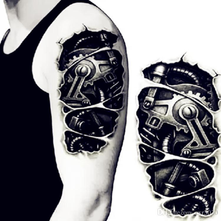 Tatuajes temporales 3D negro Robot mecánico brazo transferencia de tatuajes falsos tatuajes calientes hombres frescos atractivos aerosol diseños a prueba de agua