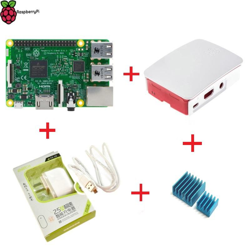 Freeshipping Raspberry Pi 3 Model B 1GB RAM 1 2GHz Quad-Core ARM 64 Bit CPU  with Official Case Power charger Heat Sink