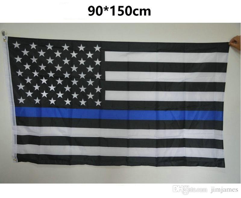 90 * 150 cm BlueLine USA Polizeiflaggen 5 styles 3x5 Fuß Dünne Blaue Linie USA Flagge Schwarz Weiß Und Blau Amerikanische Flagge Mit Messing Ösen 10 stücke