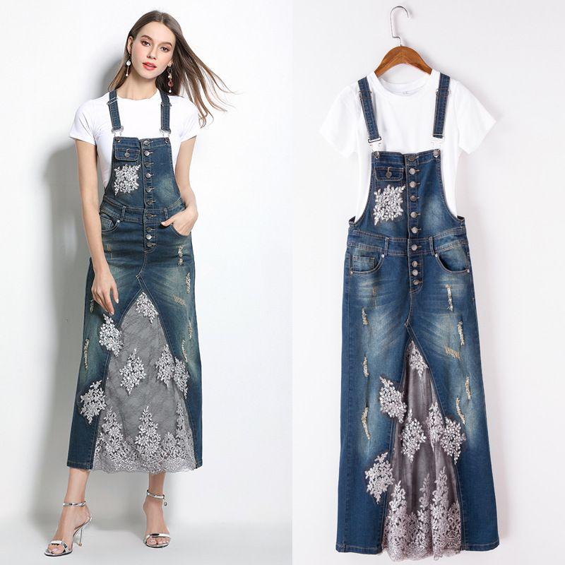 f7012a7d9 Compre Mujeres Dama Niñas Casual Fashion Lace Cowgirl Blue Strap Vestido De  Dos Piezas Vestido De Primavera Faldas Ropa 3207 A  50.26 Del Shop4dresses  ...