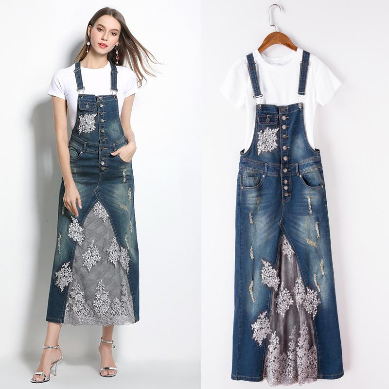 27b8bd6b4f Women Lady Girls Casual Fashion Lace Cowgirl Blue Strap Two-piece Dress  Spring Dress Skirts Clothes 3207 Women Dress Lady Skirts Girls Clothes  Online with ...