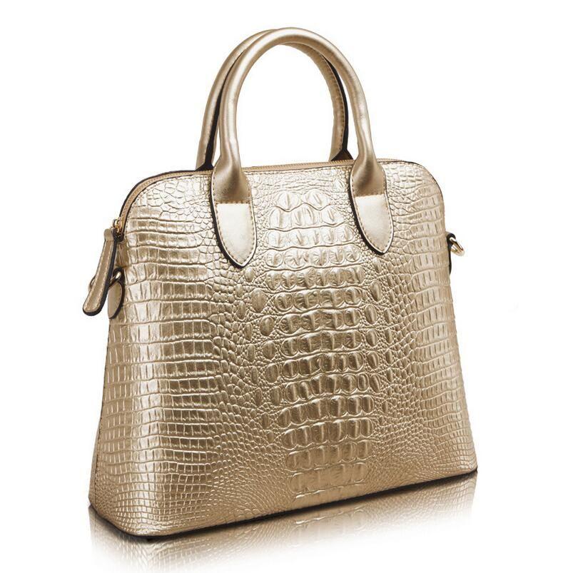 d81d1041d355 Wholesale- Hot Crocodile Pattern Genuine Leather Women Bag Big ...