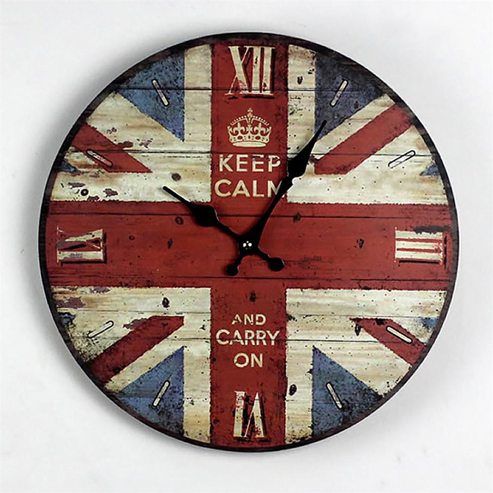 Wall Clock Retro Vintage Wood Uk Flag Home Decor Roman Numeral ...