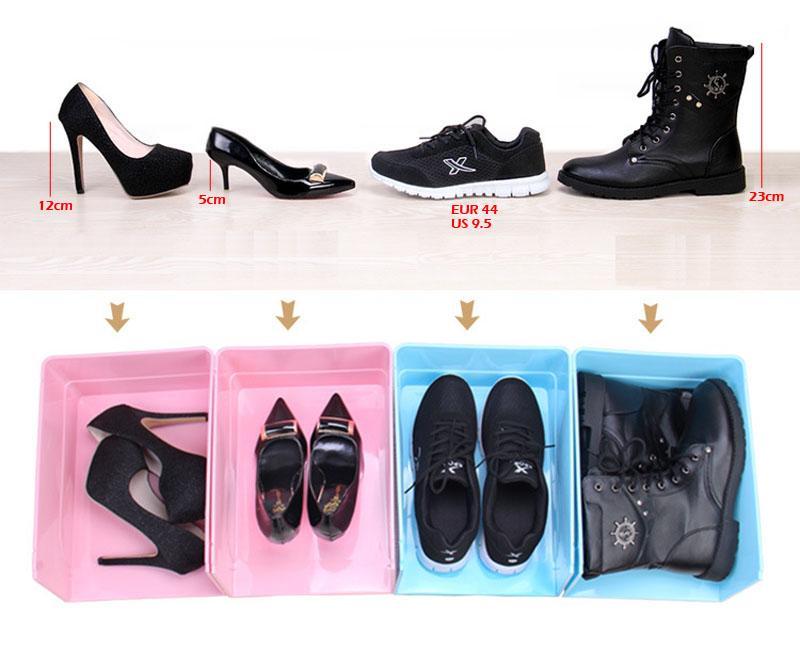 أسود أبيض من البلاستيك DIY علب الأحذية - منظمة صناديق تخزين أحذية رياضة حاويات - حذاء شفاف تنظيم مربع التشطيب