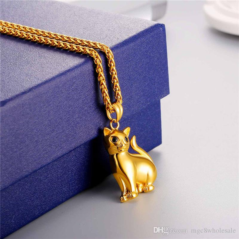 U7 Lovely Cat PendantNecklace with Solid Body Rhinestone Eyes Gold Plated/Stainless Steel for Women/Men Fashion Lucky Pet Jewelry GP2417