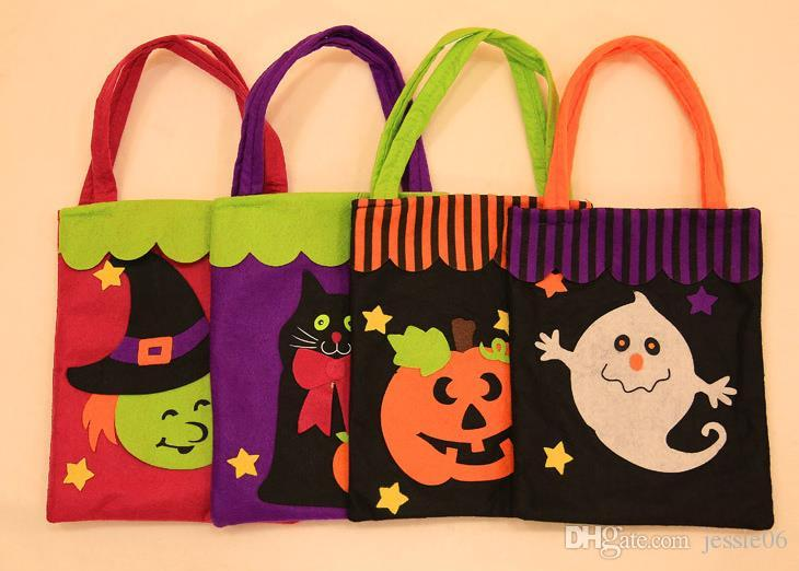 Halloween Trick or Treat bag pumpkin Witches ghost Bat reusable candy carry tote felt handbag organizer festive decor props gift wrap