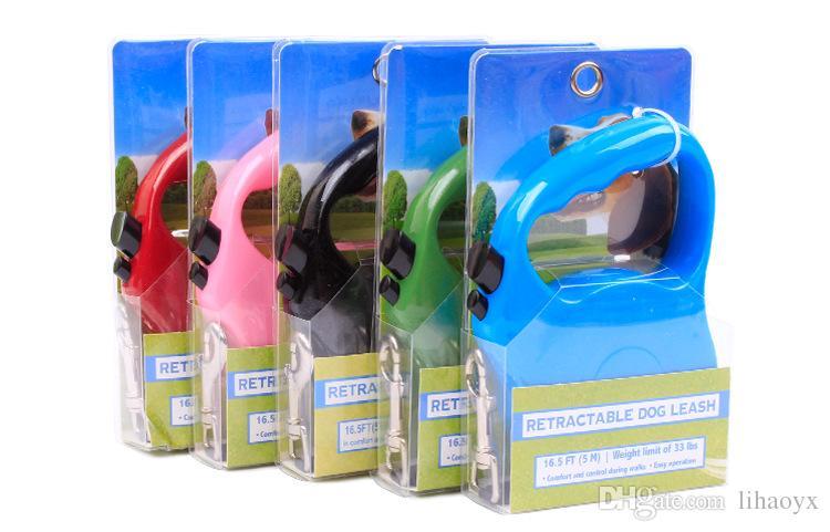 5M Automatische retraktisierbare Hundeleine langlebige Nylon-Hundeleine, die Welpen-Welpen-Welpen-Leitungen 6 Farbe AK113 erweitern