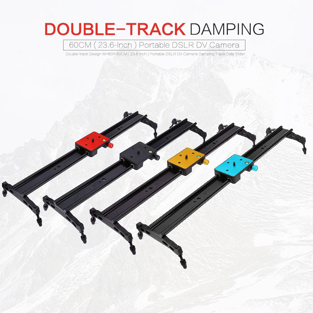 Wholesale- Double-track Design WH60R 60CM ( 23.6-Inch ) Portable DSLR DV Camera Damping Track Dolly Slider Video Stabilizer System