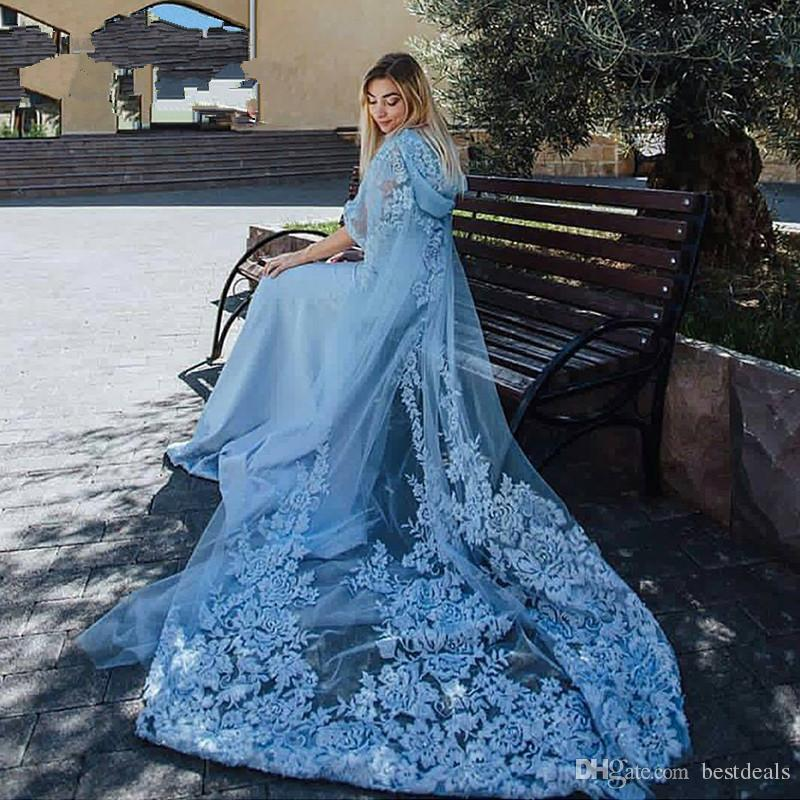 Amazing Dusty Blue Lace Appliques Evening Dresses Long Train Arabic Dubai Two Pieces Beads Jacket And Hat Prom Evening Dress Hot