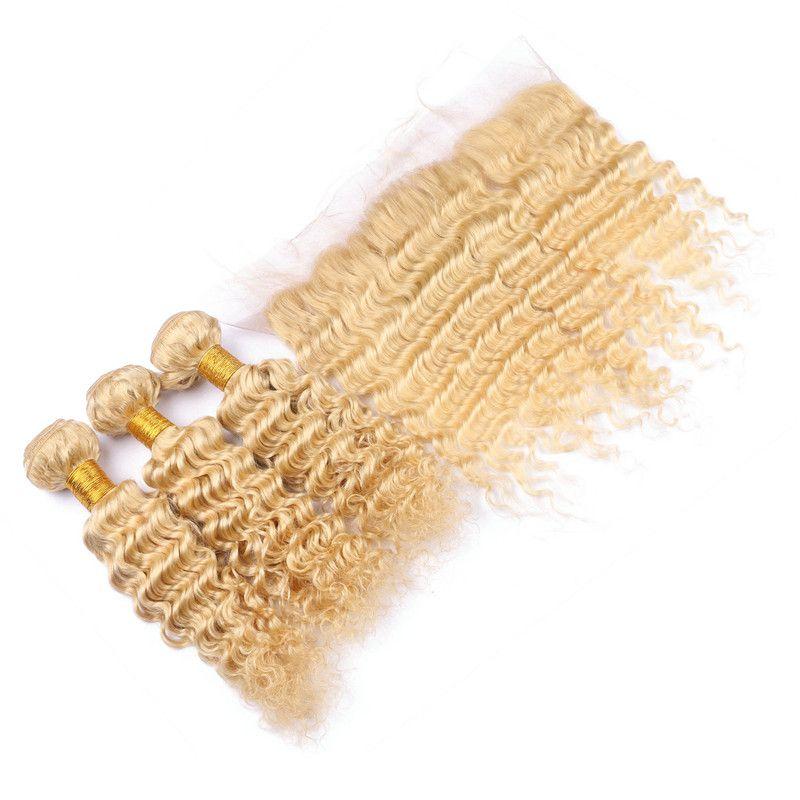 Deep Wave 3Bundles Peruvian Virgin # 613 blanqueador cabello humano rubio con frontal 13x4 rubio encaje completo con extensiones de tejido