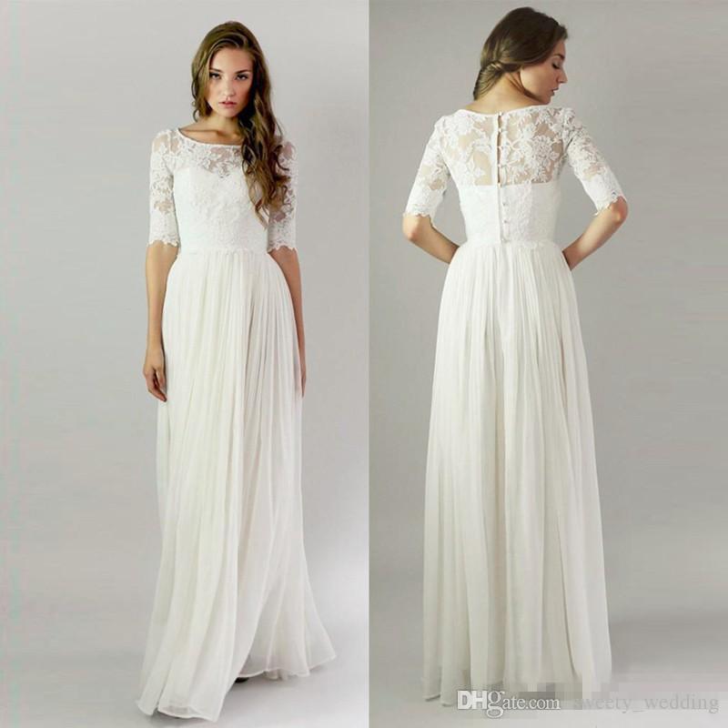 Modest 2017 Sheer Half Long Sleeves Boda Vestidos de dama de honor Jewel Neck Lace Full Length White Chiffon Maid Of Honor Bridal Guest