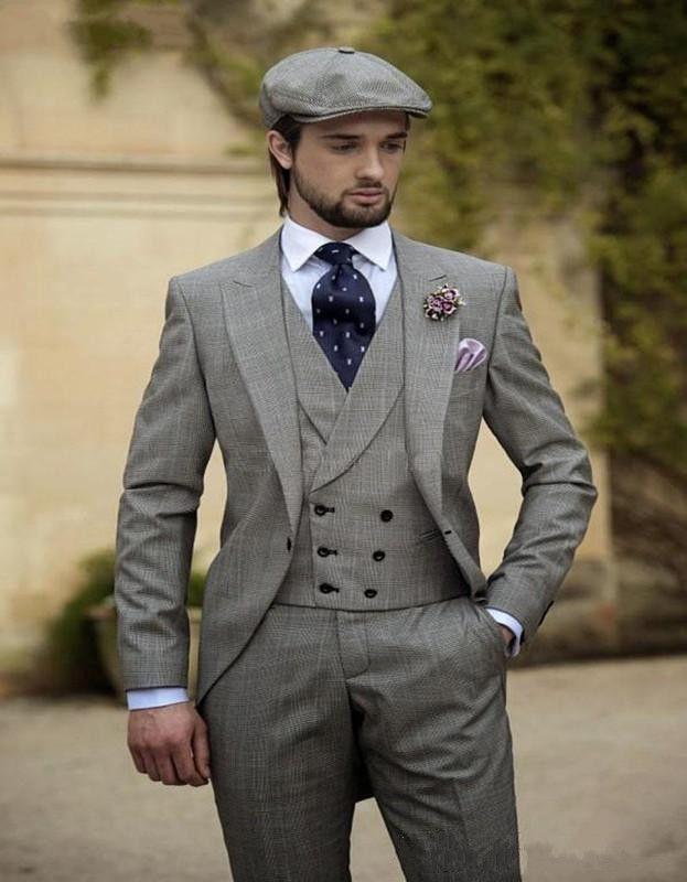 2017 Vintage Grey Mens Suits Peaked Lapel Wedding Suits For Men ...