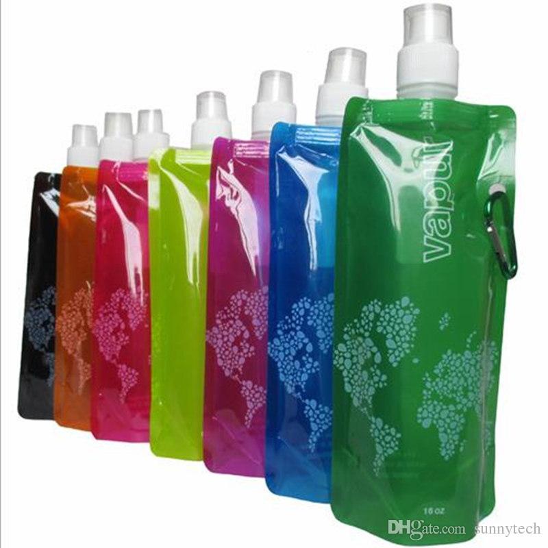 480ml foldable water bottle Portable folding sports water bottle PVC Drinkware Water Bag fast shipping F20171729