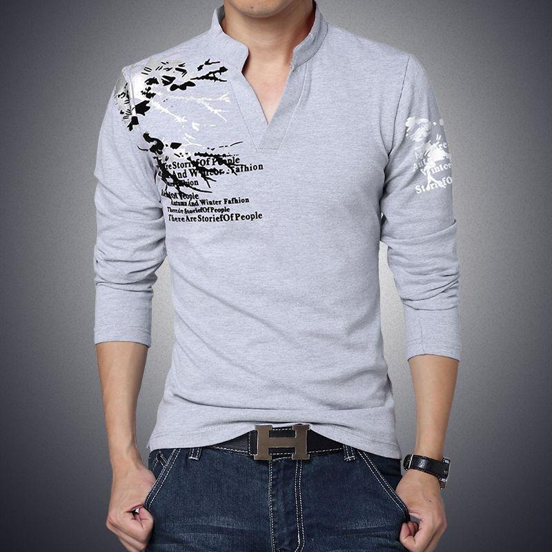 d2f9f4867 New Fashion Brand Trend Print Slim Fit Long Sleeve T Shirt Men Tee V Neck  Casual Men T Shirt Cotton T Shirts Plus Size Best T Shirt Site T Shirt  Making ...