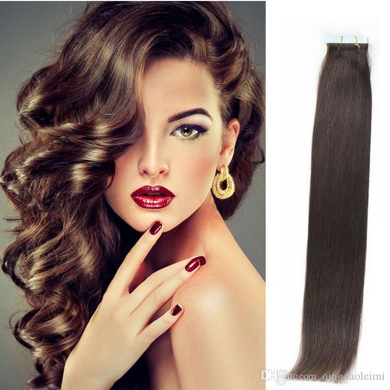 Tape In Human Hair Extensions 16 24inch Brazilian Virgin Human Hair