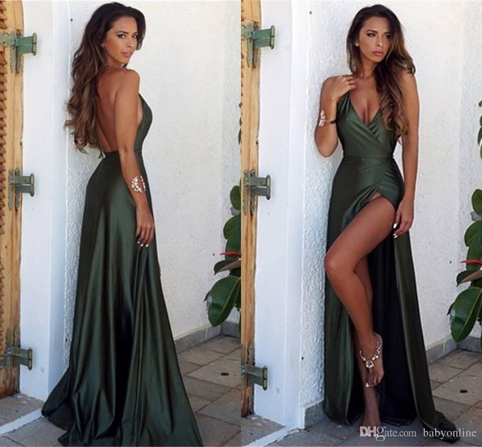 2017 Sheath Wedding Dresses For Greek Goddess Simple: 2017 Simple Hunter Front Split Elegant Evening Dresses