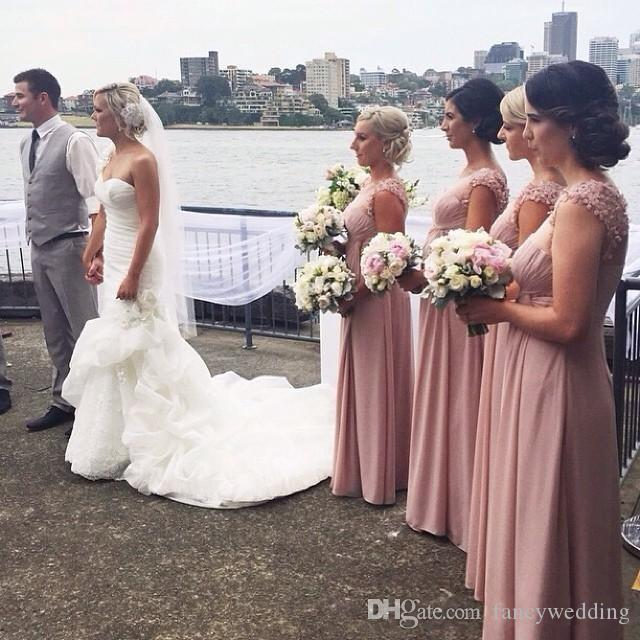 2017 A-Line Applique Skirt Jewel Chiffon Cheap Floor Length Rose Pink Beautiful Sexy Formal Bridesmaid Gowns
