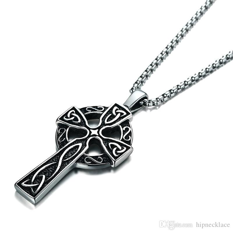 4dc9682412f Wholesale Fashion Mens Stainless Steel Cross Pendant Necklaces With 24inch  Box Chain Hip Hop Men Punk Jewelry Design Necklace New Arrival Mens Pendant  ...