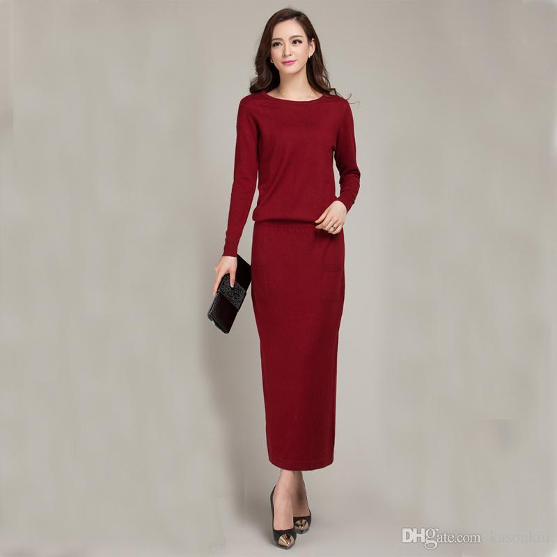 2017 New Spring And Autumn Female Round Neck Floor-length Cashmere ... 2da8b3bb2f00