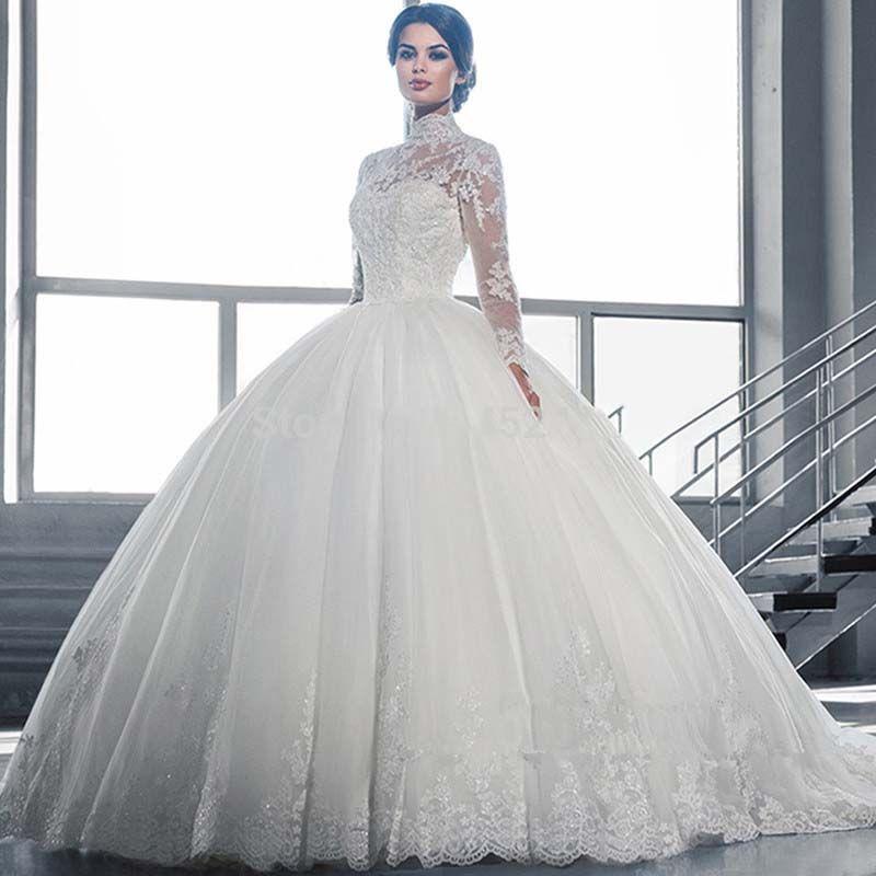 Robe de mariée robe de mariée robe de mariée robe de mariée dentelle décolleté à manches longues tulle tulle robes de mariée vestido de casamento