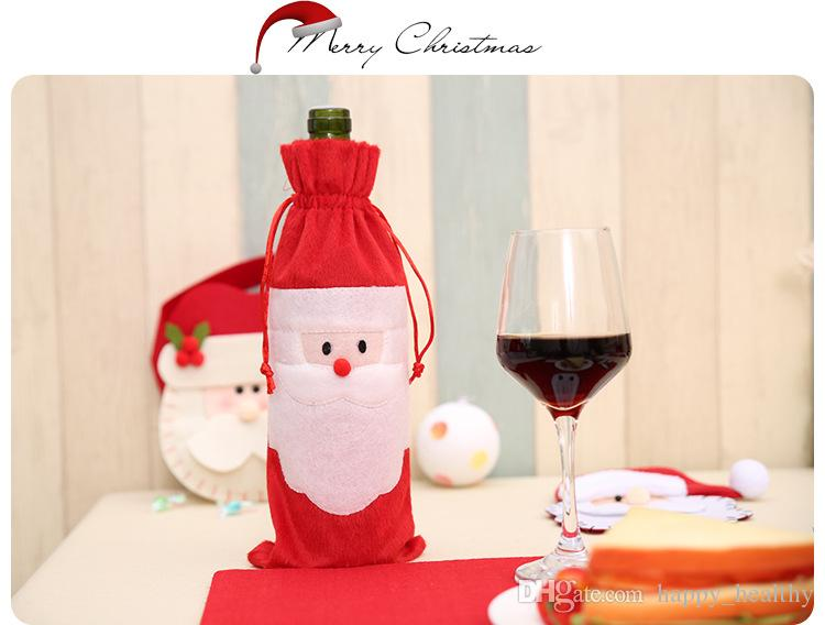 DHL 6lot Hot sale Christmas gift bag Merry Xmas Santa Claus Wine Bottle Cover Christmas Dinner Party Table Decor Red