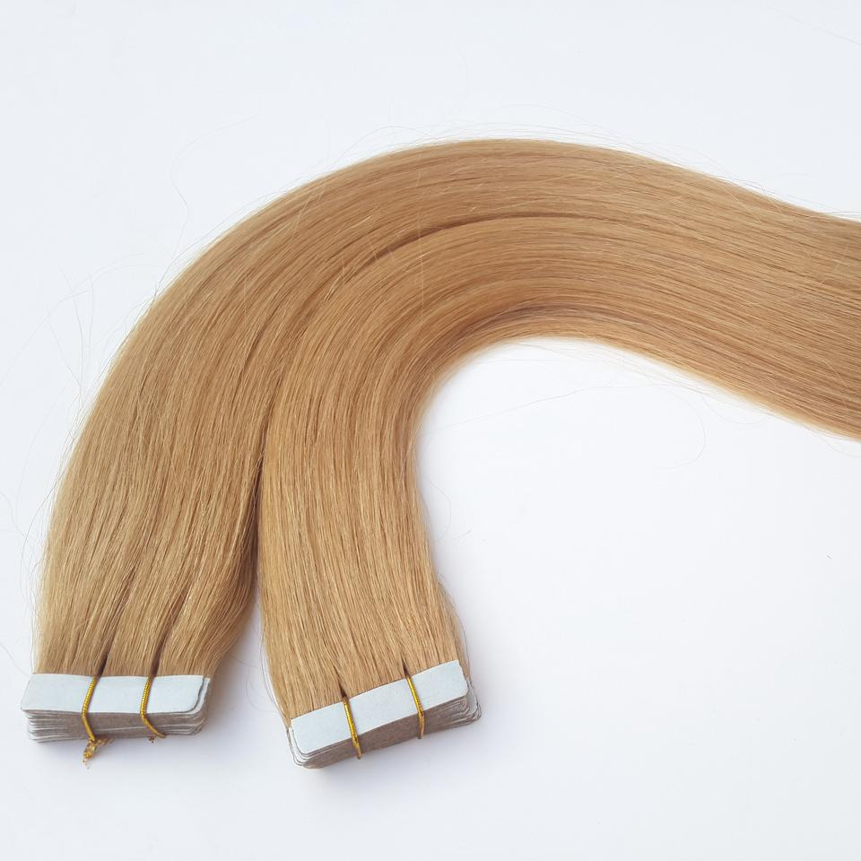 Trame de peau Extensions de cheveux Remy Tape Extensions de cheveux Quantité vendue Bien cheveux raides péruviens Fraise Blonde Factory Outlet
